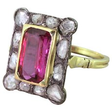 Victorian 2.50 Carat Ruby & Rose Cut Diamond Cluster Ring, circa 1890