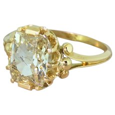 Edwardian 3.04 Carat Light Yellow Old Cut Diamond Solitaire Ring, French, circa 1905