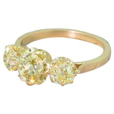 Art Deco 1.83 Carat Fancy Intense Yellow Old Cut Diamond Trilogy Ring, circa 1930