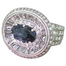 Retro 9.10 Carat Natural Sapphire & 5.03 Carat Diamond Ring, circa 1950
