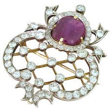 Art Deco 6.97 Carat Ruby & 4.06 Carat Old Cut Diamond Brooch, circa 1915