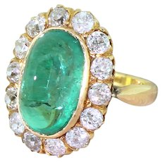 Art Deco 6.43 Colombian Cabochon Emerald & Diamond Cornet Cluster Ring, circa 1920