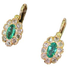 Edwardian Emerald & Rose Cut Diamond Marquise Cluster Earrings, French, circa 1905