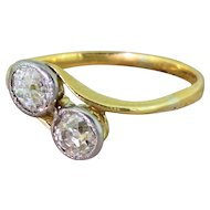 Edwardian 0.90 Carat Old Cut Diamond Crossover Ring, circa 1910