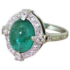 Mid Century 2.70 Carat Cabochon Emerald & Diamond Cluster Ring, circa 1955