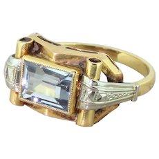 Art Deco 1.25 Carat Baguette Cut Aquamarine Ring, French, circa 1930