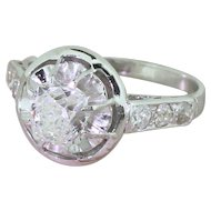 Retro 1.06 Carat Old Cushion Cut Diamond Engagement Ring, circa 1945