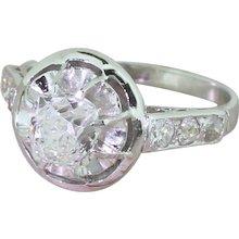 Retro 1.06 Carat Old Cushion Cut Diamond Engagement Ring, circa 1945
