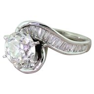 Retro 2.43 Carat Old European Cut Diamond Engagement Ring, circa 1950
