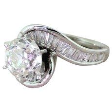 Retro 2.43 Carat Old European Cut Diamond Engagement Ring, circa 1950