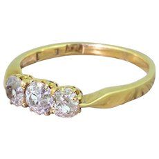 Victorian 1.00 Carat Old Cut Diamond Trilogy Ring, circa 1880