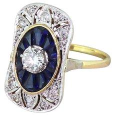 Art Deco Sapphire & Diamond Plaque Ring with Original Box, French, circa 1930