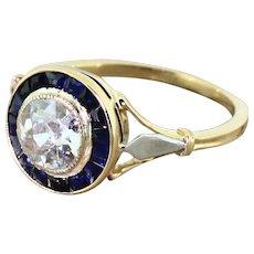 Art Deco 1.00 Carat Old Cut Diamond & Calibre Cut Sapphire Ring, French, circa 1925