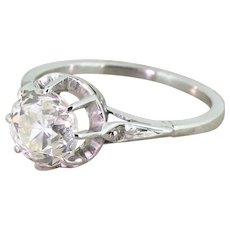 Art Deco 1.89 Carat Old Cut Diamond Engagement Ring, French, circa 1930