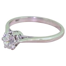 Late 20th Century 0.50 Carat Old Cut Diamond Engagement Ring, dated 1979