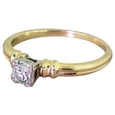Art Deco 0.20 Carat Old European Cut Diamond Engagement Ring, circa 1940