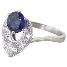 Avant Garde 1.10 Carat Sapphire & Transitional Cut Diamond Ring, French, circa 1955