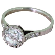 Art Deco 1.40 Carat Old Cut Diamond Solitaire Engagement Ring, circa 1920