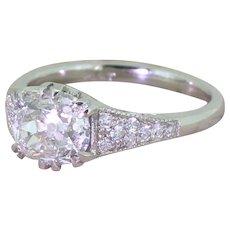 Art Deco 1.39 Carat Old Oval Cut Diamond Engagement Ring, circa 1940