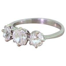 Art Deco 1.50 Carat Old Cut Diamond Trilogy Ring, circa 1940
