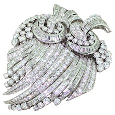 Art Deco 19.00 Carat Brilliant & Baguette Cut Diamond Double Brooch, circa 1940