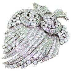Art Deco 19.00 Carat Brilliant & Baguette Cut Diamond Double Brooch, circa 1940