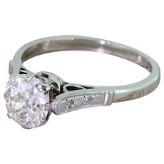 Art Deco 1.45 Carat Old Cut Diamond Engagement Ring, Dutch, circa 1930