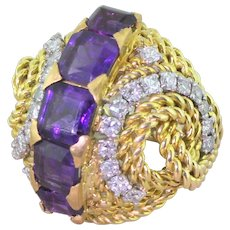 Mid Century 3.00 Carat Amethyst & Diamond Cocktail Ring, circa 1965