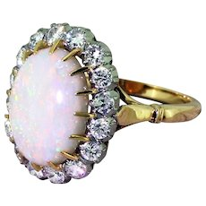 Mid Century Australian Opal & Brilliant Cut Diamond Cluster Ring, circa 1965