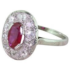 Art Deco 1.00 Carat Natural Ruby & Old Cut Diamond Cluster Ring, French, circa 1930