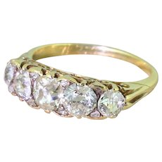 Victorian 2.00 Carat Old Cut Diamond Five Stone Ring, circa 1900