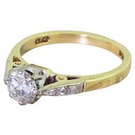 0.65 Carat Transitional Cut Diamond Engagement Ring, 18k Gold