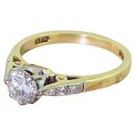 0.65 Carat Transitional Cut Diamond Engagement Ring, 18k Gold