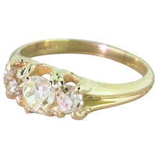 Victorian 1.20 Carat Fancy Light Yellow Old Cut Three Stone Ring, circa 1900