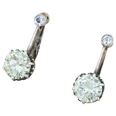 Edwardian 3.21 Carat Old European Cut Diamond Earrings, circa 1905