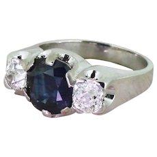 Retro 3.05 Carat Natural Sapphire & Old Cut Diamond Trilogy Ring, circa 1945