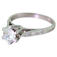 Retro 0.54 Carat Transitional Cut Diamond Engagement Ring, circa 1945