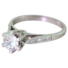 Retro 0.54 Carat Transitional Cut Diamond Engagement Ring, circa 1945