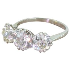 Art Deco 3.69 Carat Old Cut Diamond Trilogy Ring, circa 1920