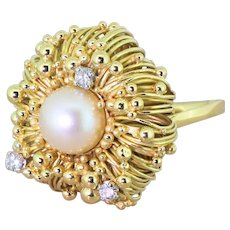 "Mid Century Pearl & Diamond ""Anemone"" Dress Ring, dated 1963"