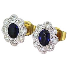 Mid Century 1.00 Carat Sapphire & Diamond Cluster Earrings, circa 1950