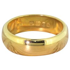 Mid Century 22k Yellow Gold Wedding Band, dated 1963