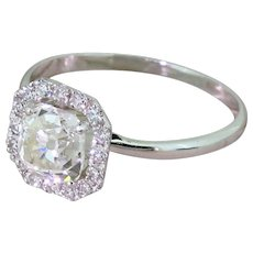 1.19 Carat Old Cushion Cut Diamond Halo Ring, 18k White Gold