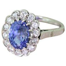 Mid Century 4.28 Carat Natural Ceylon Sapphire & Diamond Ring, circa 1960