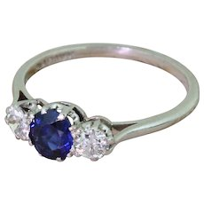 Art Deco Sapphire & Old Cut Diamond Trilogy Ring, circa 1930