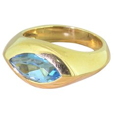Mid Century Marquise Cut Topaz Solitaire Ring, French, circa 1960