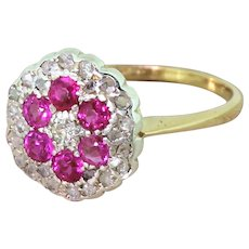 Mid Century Ruby & Diamond Cluster Ring, circa 1965