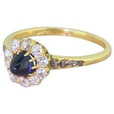 Victorian Sugarloaf Sapphire & Old Cut Diamond Cluster Ring, circa 1900