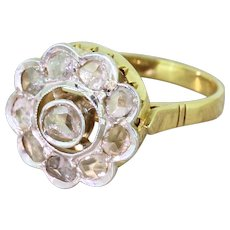 Art Deco 0.50 Carat Rose Cut Diamond Target Cluster Ring, circa 1920