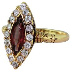 Victorian 1.25 Carat Purple Tourmaline & Old Cut Diamond Navette Cluster Ring, circa 1890